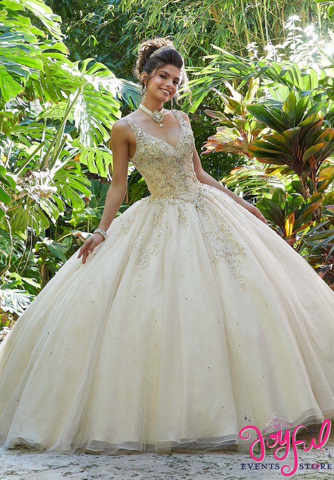 Rhinestone and Crystal Beading with Metallic Embroidery on a Tulle Ballgown #89249