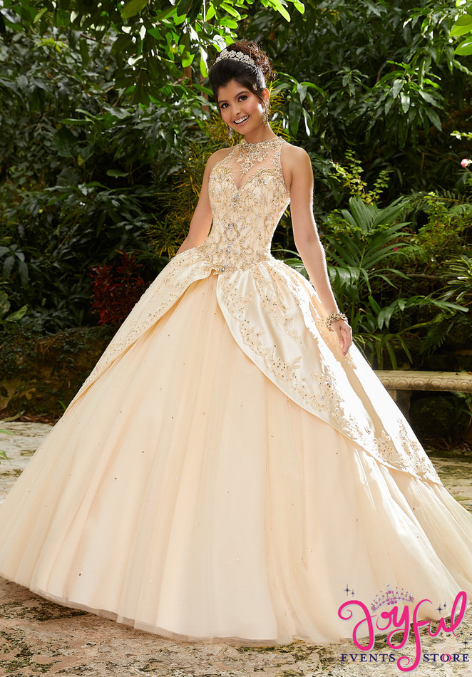 Rhinestone and Crystal Beaded, Metallic Embroidery on a Tulle Ballgown #89251