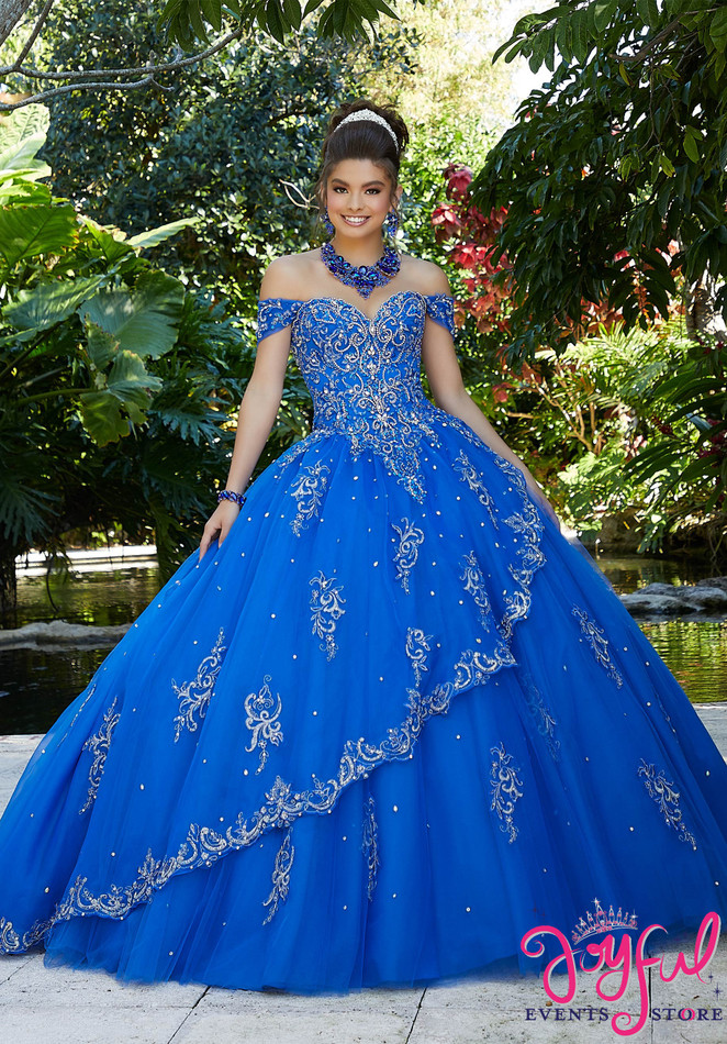 Rhinestone and Crystal Beading with Metallic Embroidery on a Tulle Ballgown #89254