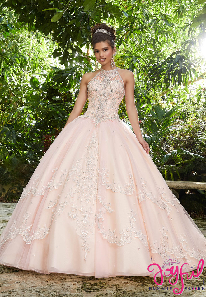 Rhinestone and Crystal Beading on a Metallic Embroidered Tulle Ballgown #89256