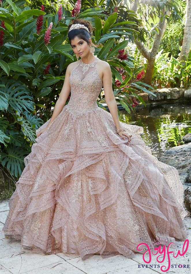 Rhinestone and Crystal Beading on a Metallic Embroidered Glitter Net Ballgown #89257