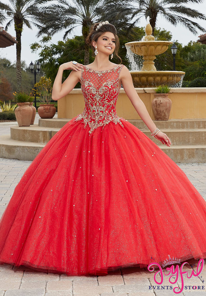 Rhinestone and Crystal Beaded, Metallic Embroidery on a Sparkle Tulle Ballgown #60096