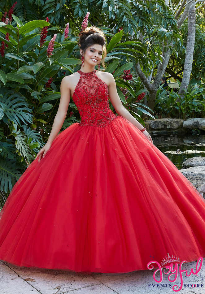 Rhinestone and Crystal Beaded Embroidery on a Tulle Ballgown #60095