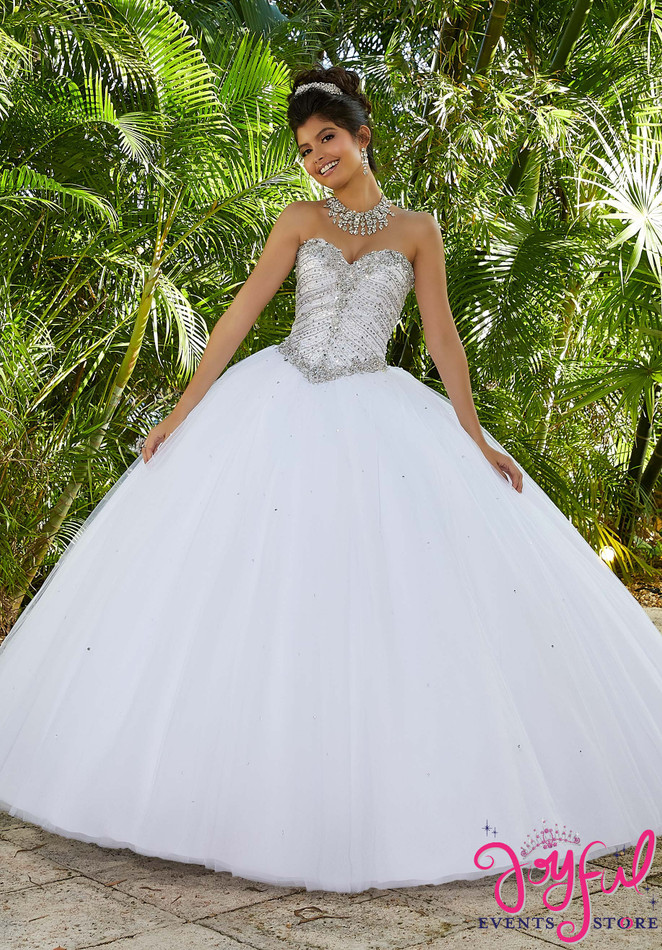 Rhinestone and Crystal Beaded Metallic Embroidery on a Tulle Ballgown #60093