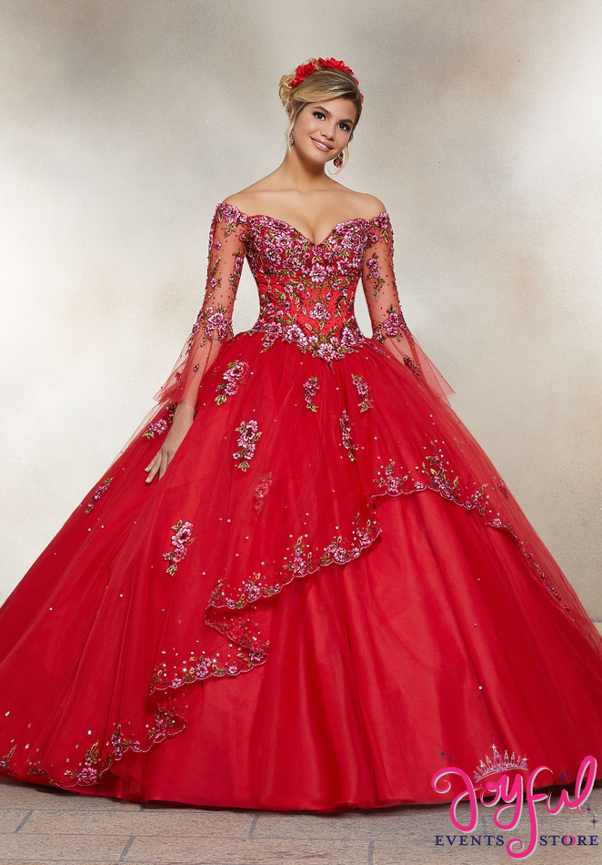 Crystal Beaded Embroidery on a Tulle Ballgown #34003