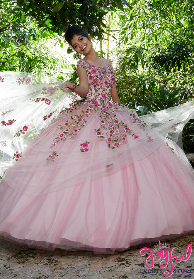 Crystal Beaded, Three-Dimensional Floral Embroidery on a Tulle Ballgown #34012