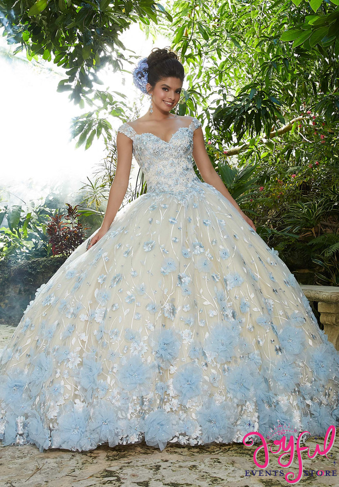 Crystal Beaded, Allover Floral Embroidered Pattern on a Tulle Ballgown #34011