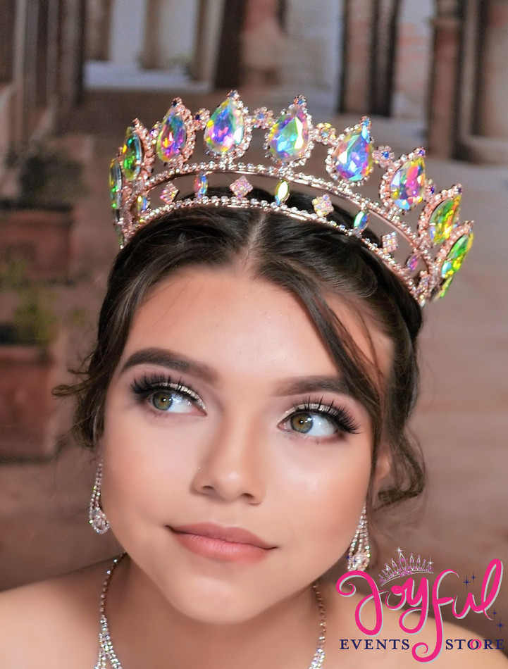 """2.5"""" Rose Gold Crystal All Round Princess Crown #T168RG"""