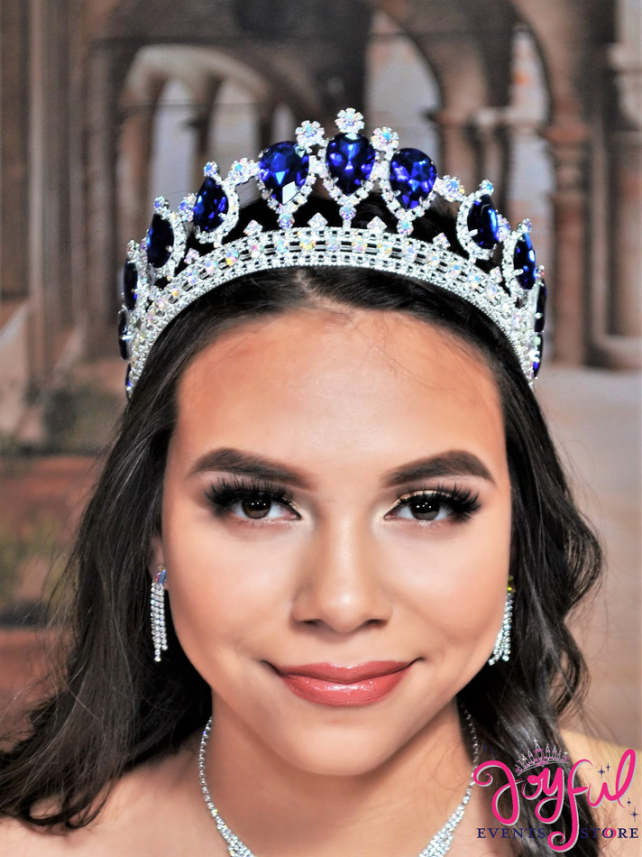 """2.75"""" Royal Blue Crystal Princess Tiara #T165RBSV"""