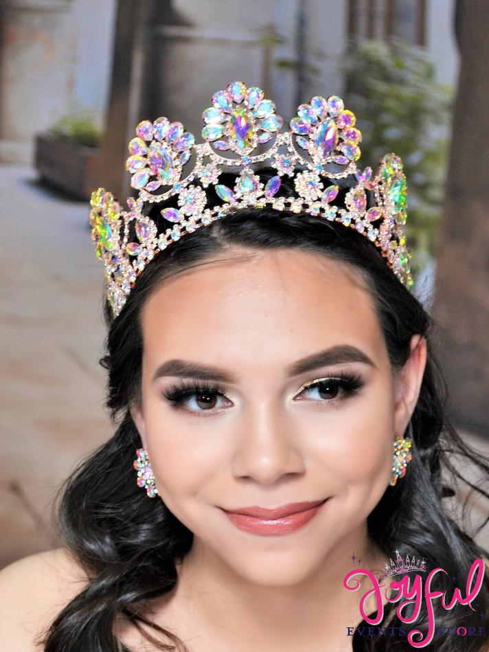 "4.5"" Rose Gold Crystal Princess Tiara #T159RG"
