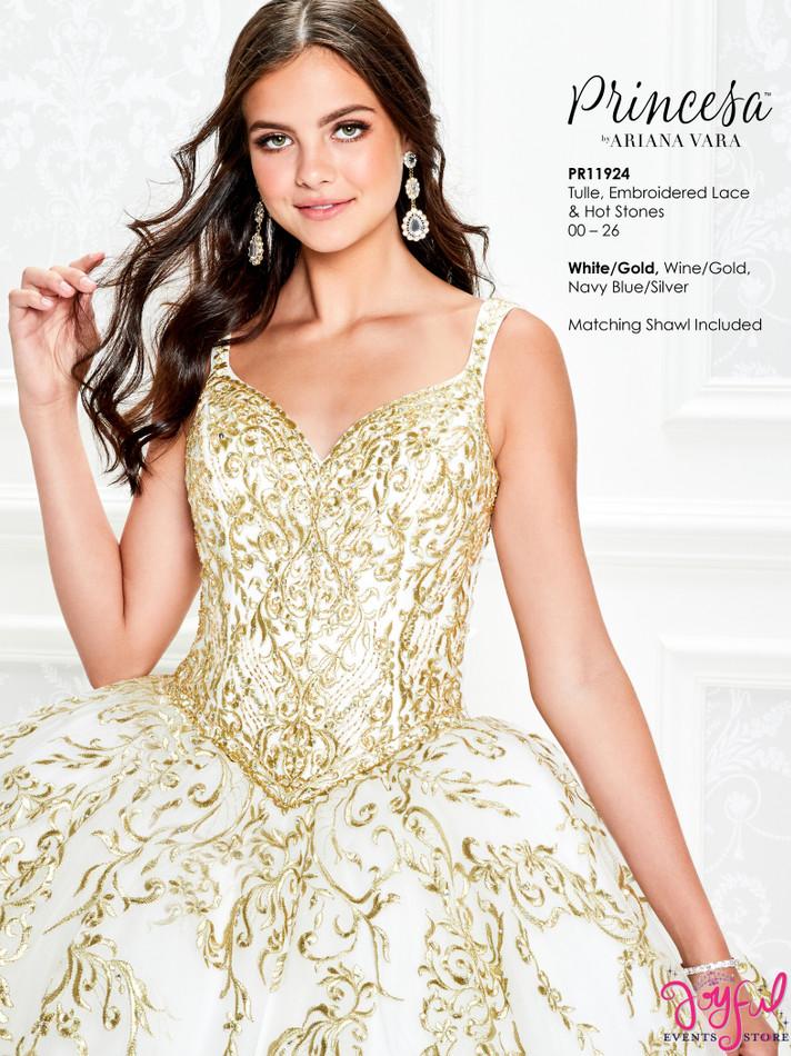 White/Gold Quinceanera Dress #PR11924WHG