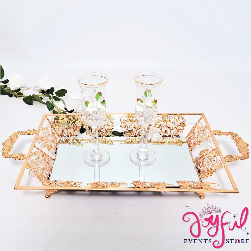 Toasting Glasses with Gold or Silver Tray #TS89