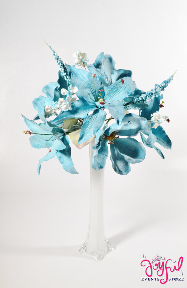 """21"""" Magnolia & Lily Turquoise Flower Bouquet - One #LTX8TQ"""
