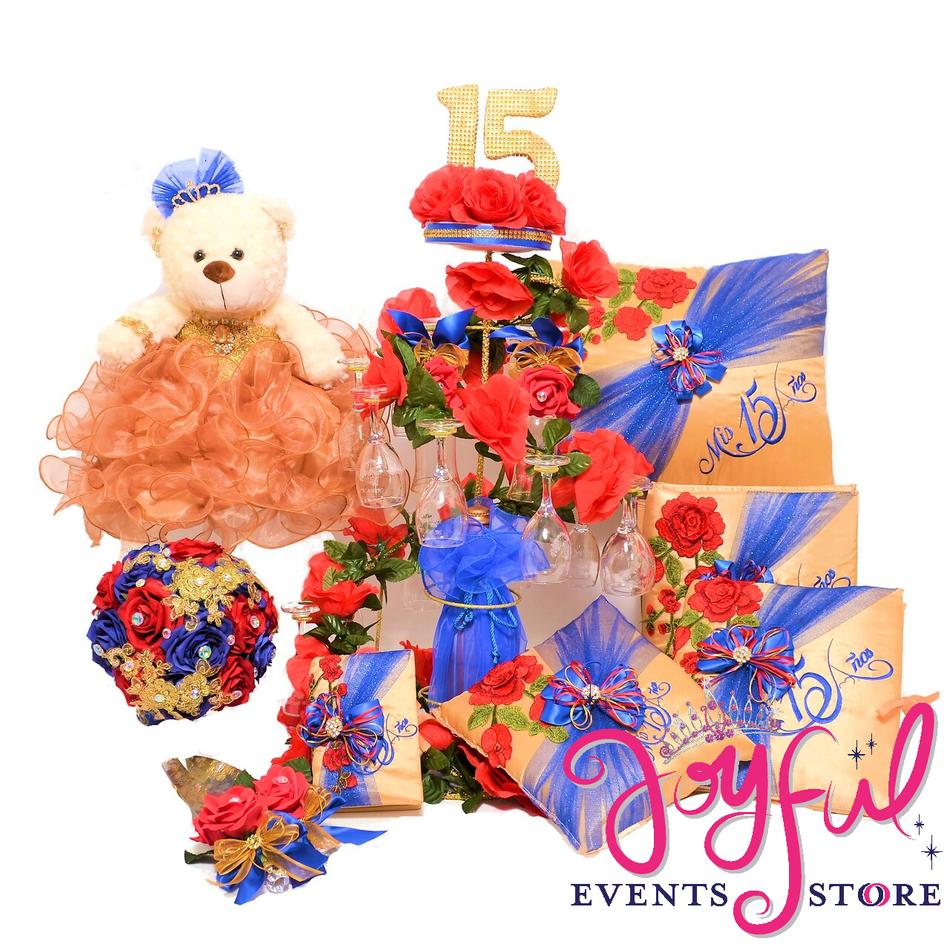 Quinceanera Beauty Theme Package Bear, Pillows, Guest Book, Album, Bible, Flower Bouquet, and Cake Server #QSP174