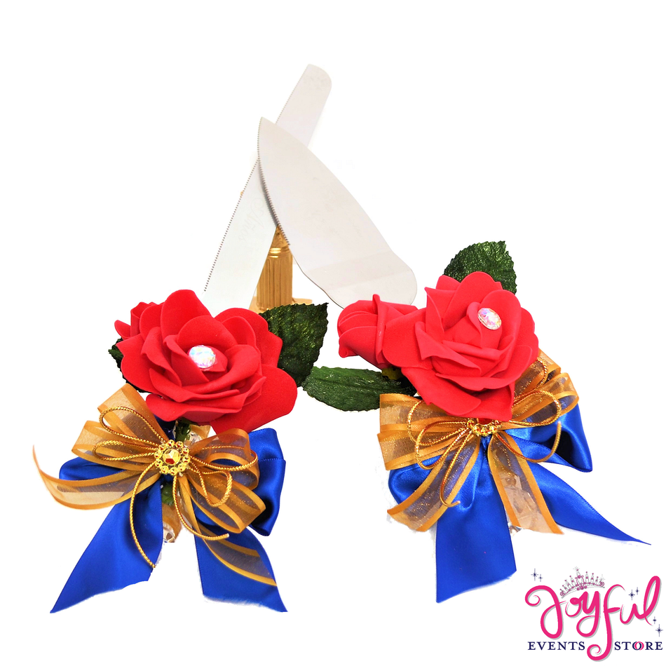 Beauty Theme Royal Blue, Red, and Gold Quinceanera Cake Server & Knife Set #CS32