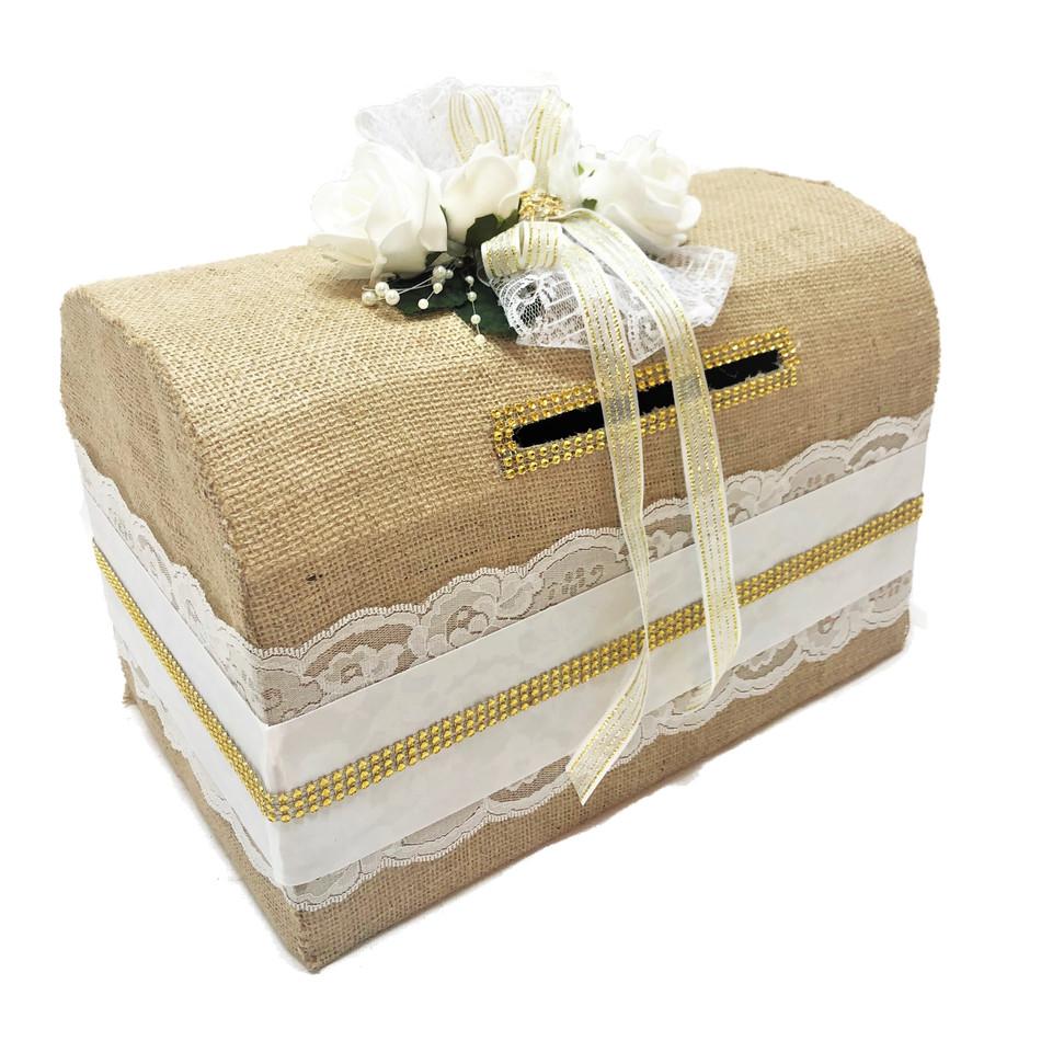 "15"" Burlap Western Theme Money Box #MNYBX25WH"
