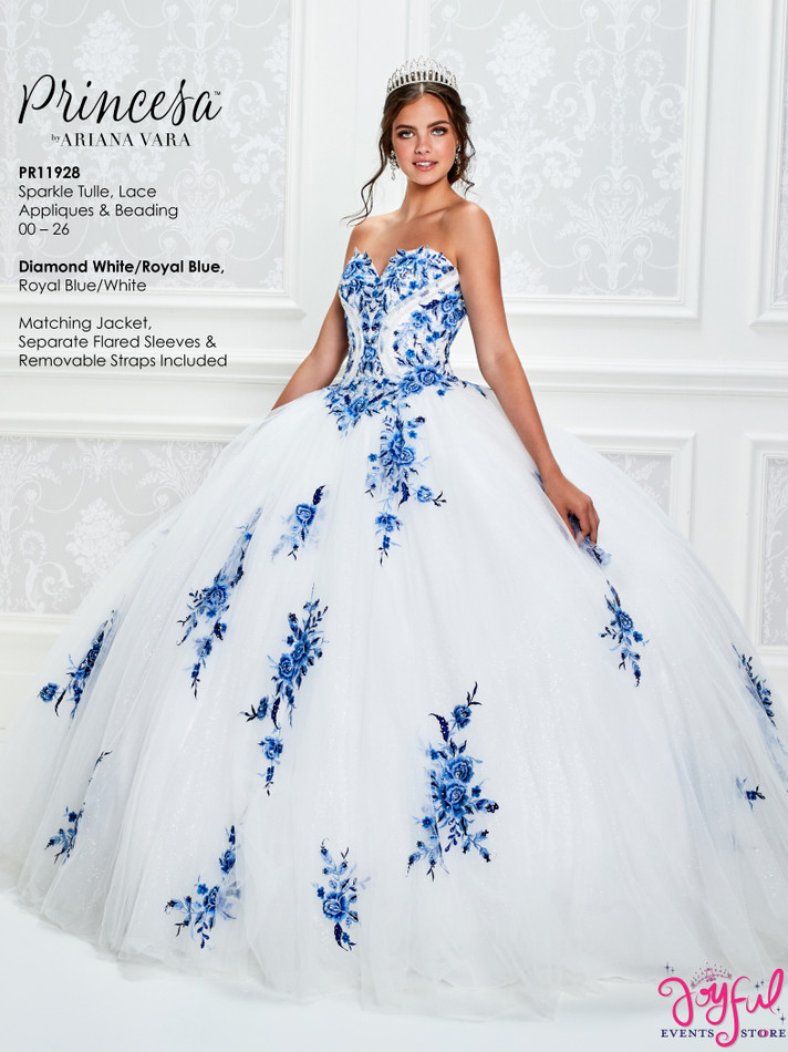 Diamond White/Royal Blue Quinceanera Dress #PR11928DWRB