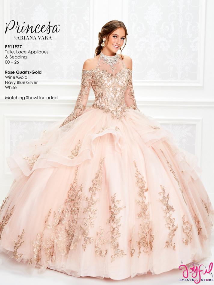 Rose Quartz/Gold Quinceanera Dress #PR11927RQ