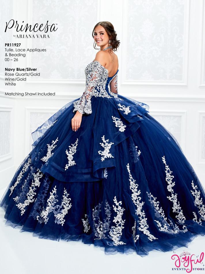 Navy Blue/Silver Quinceanera Dress #PR11927NVS