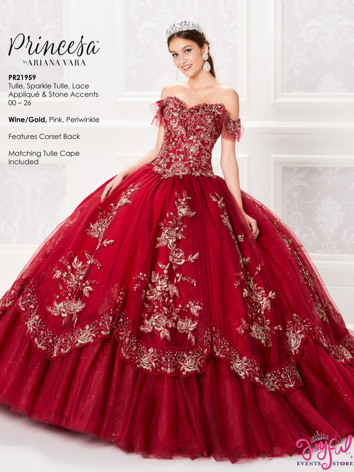 Wine/Gold Quinceanera Dress #PR21959WG