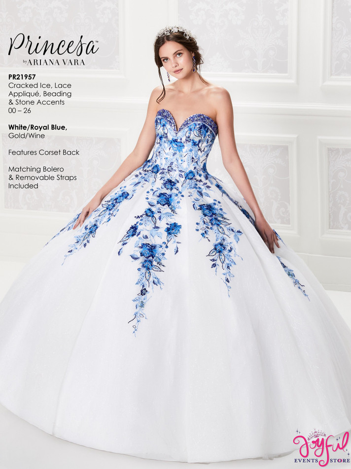 White/Royal BlueQuinceanera Dress #PR21957WRB