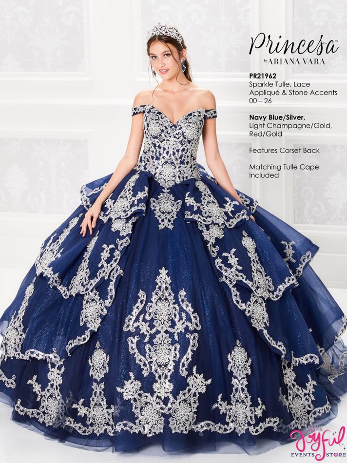 Navy Blue/Silver Quinceanera Dress #PR21962NVS