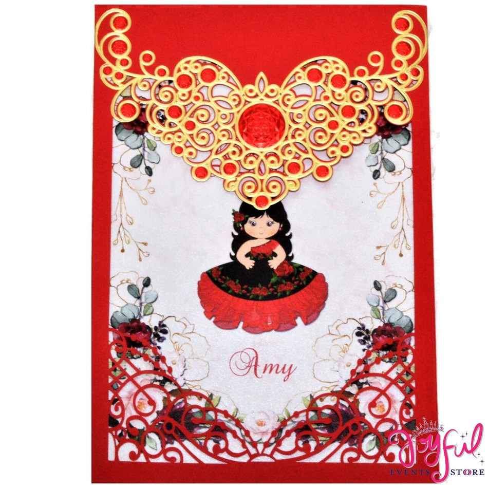 Golden Red Laser Design Charra Quinceanera Invitation with Black and Red Dress #PCW76DF-C46