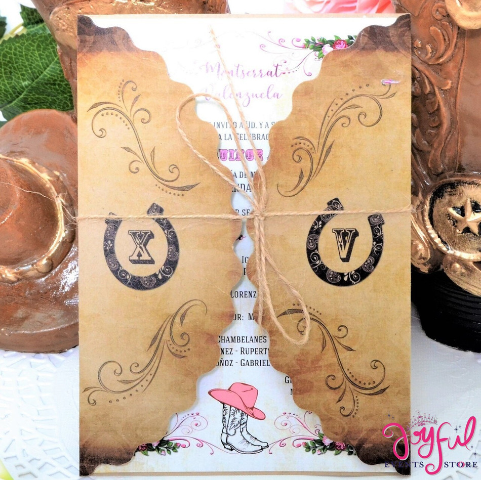 Horseshoe Printed Wrap Quinceanera Invitation in Western Theme Design #PWDXK-C45
