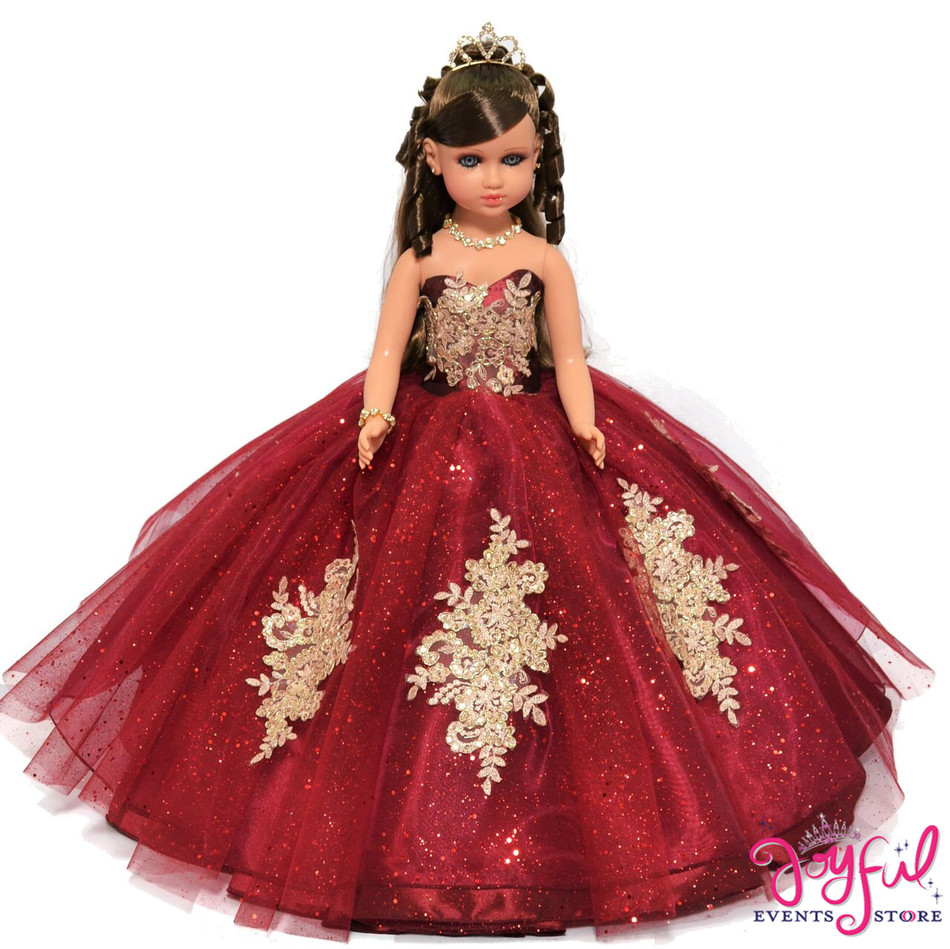 """20"""" Quinceanera Last Doll or Ultima Muneca Dressed in a Wine with Gold Dress #QD86WN"""