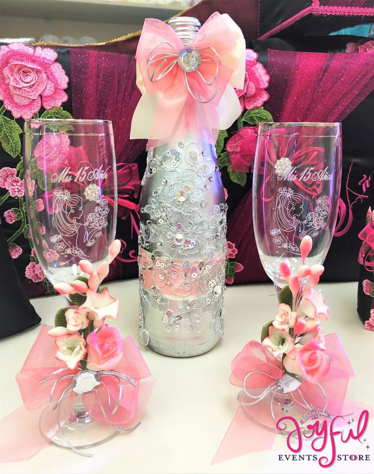 Quinceañera Toasting Set with Two Decorated Glasses and Cider Bottle #TSAC5