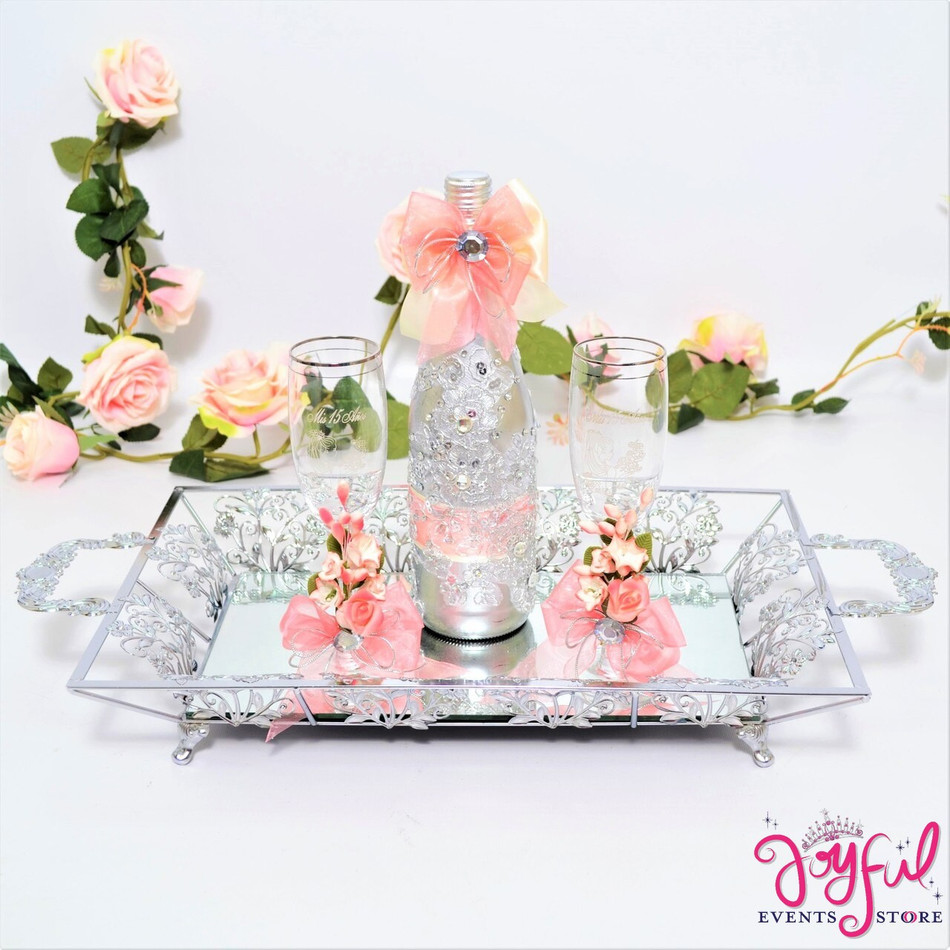 Quinceañera Toasting Set with Two Decorated Glasses and Cider Bottle on Tray #TSAC10