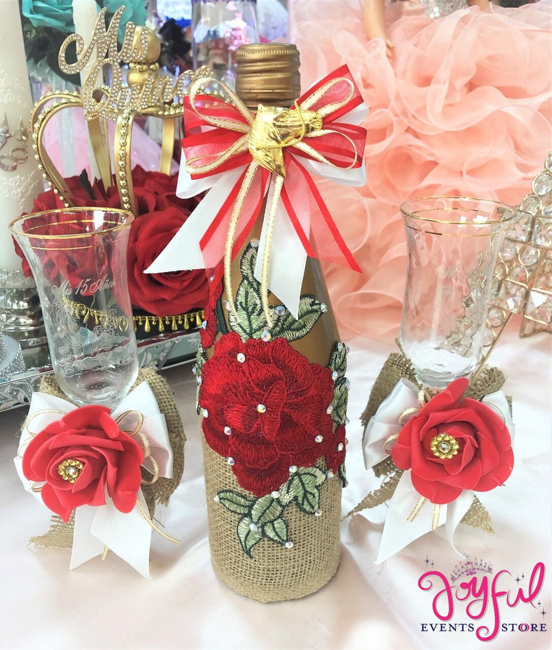 Quinceañera Toasting Set with Two Decorated Glasses and Cider Bottle with Red Flowers#TSAC6