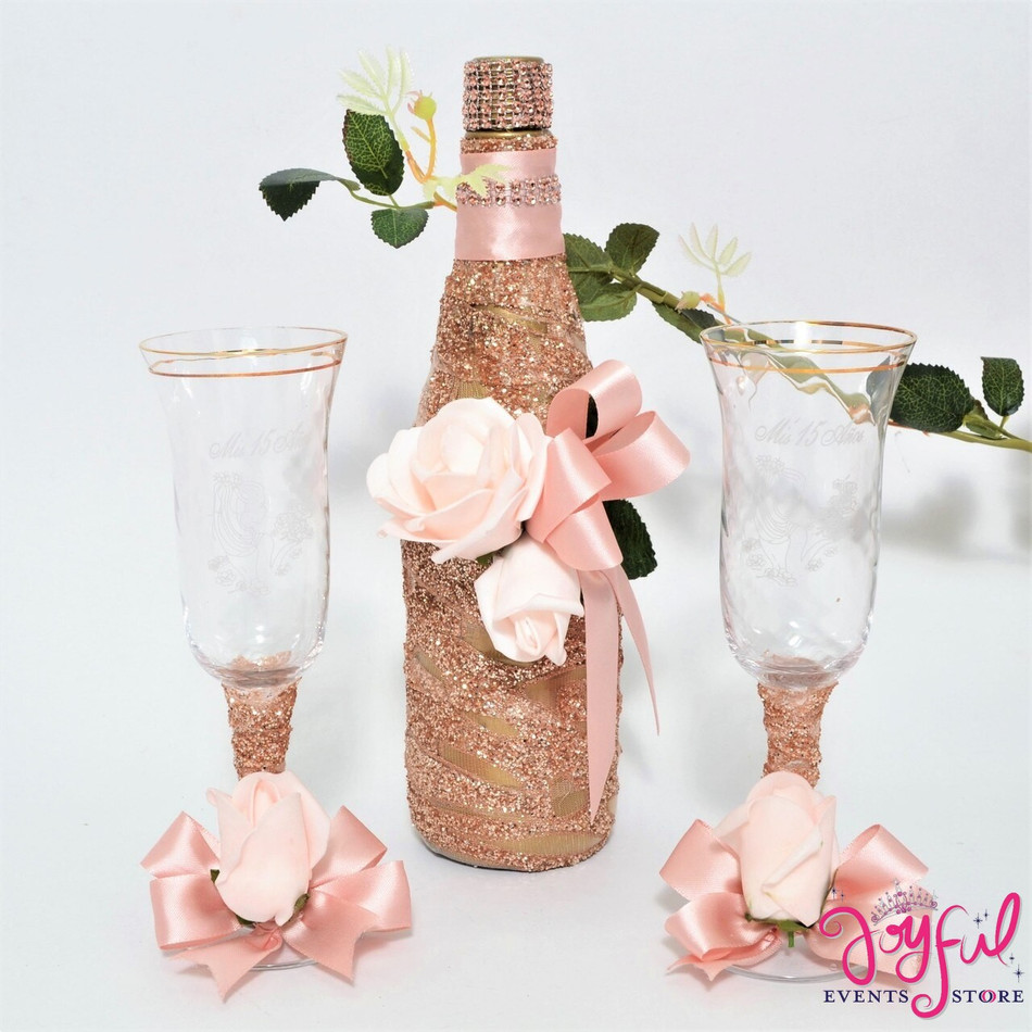 Quinceañera Toasting Set with Two Gold Rose Decorated Glasses and Cider Bottle #TSAC13