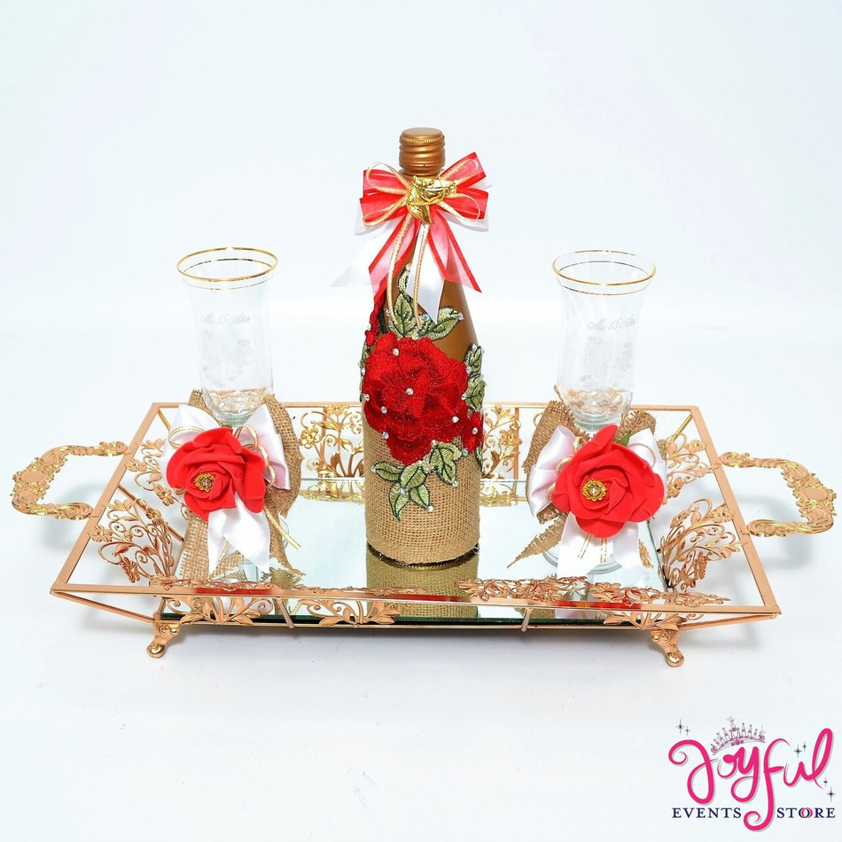 Quinceañera Toasting Set with Two Decorated Glasses and Cider Bottle with Red Flowers#TSAC1