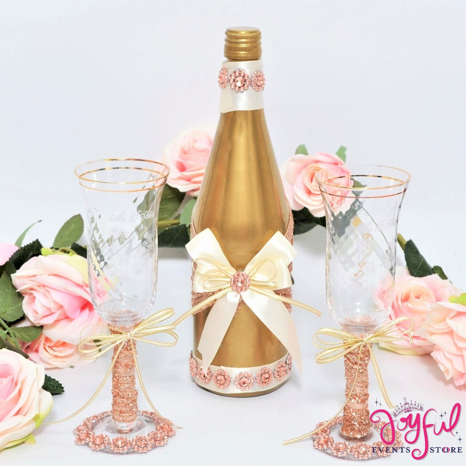 Quinceañera Toasting Set with Rose Gold, Ivory and Gold Decorated Glasses and Cider Bottle #TSAC3