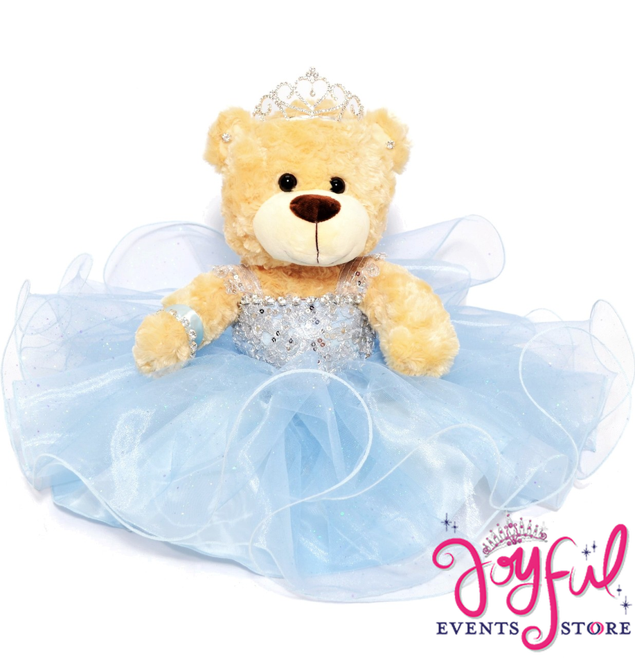 """17"""" Quinceanera Teddy Bear with Blue Tulle Straight Skirt Dress #QBR24"""