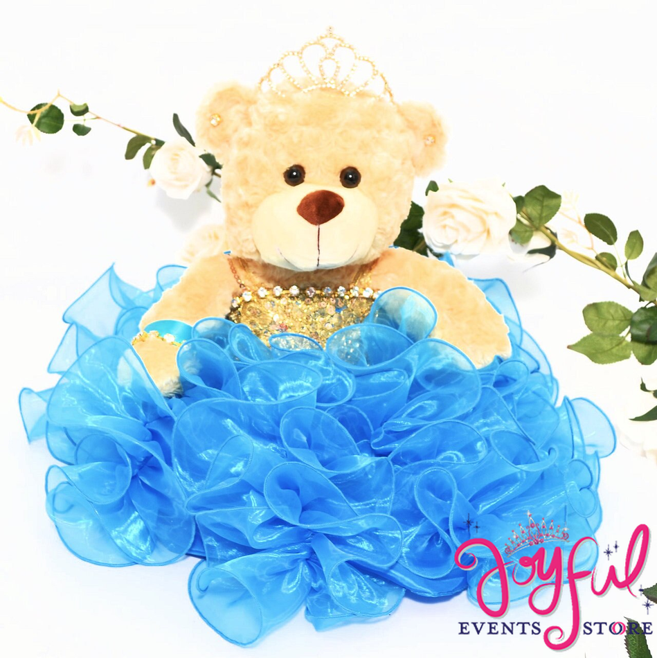 "17"" Quinceanera Teddy Bear with Turquoise Blue Ruffled Skirt Dress #QBR25"