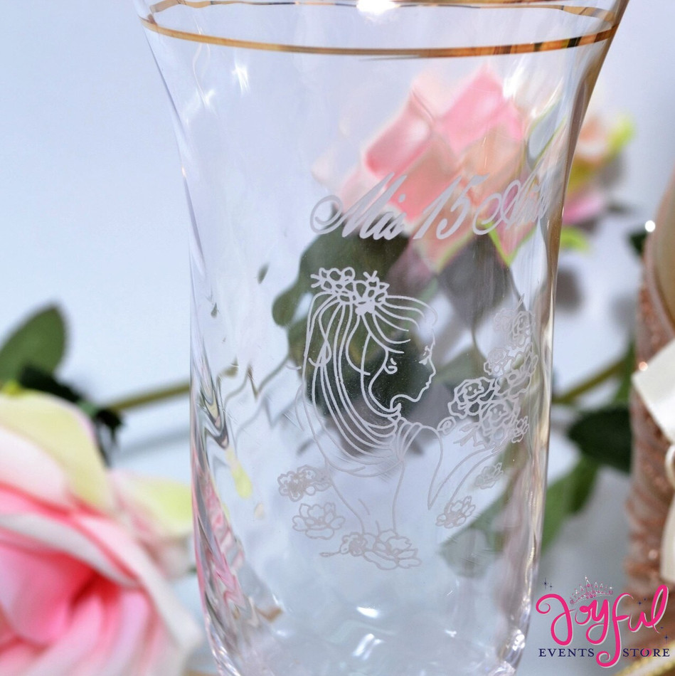 Quinceañera Beauty and the Beast Theme Toasting Set with Two Decorated Glasses and Bottle #TSAC36