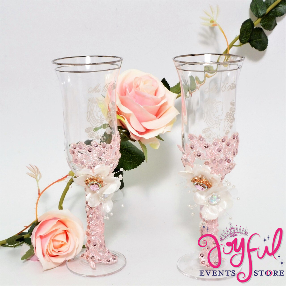 Vintage Blush Toasting Glasses with Cake Server  & Knife Set #TGCS31