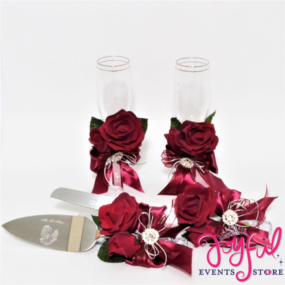 Toasting Glasses with Cake Server  & Knife Set with Fomi Rose #TGCS32
