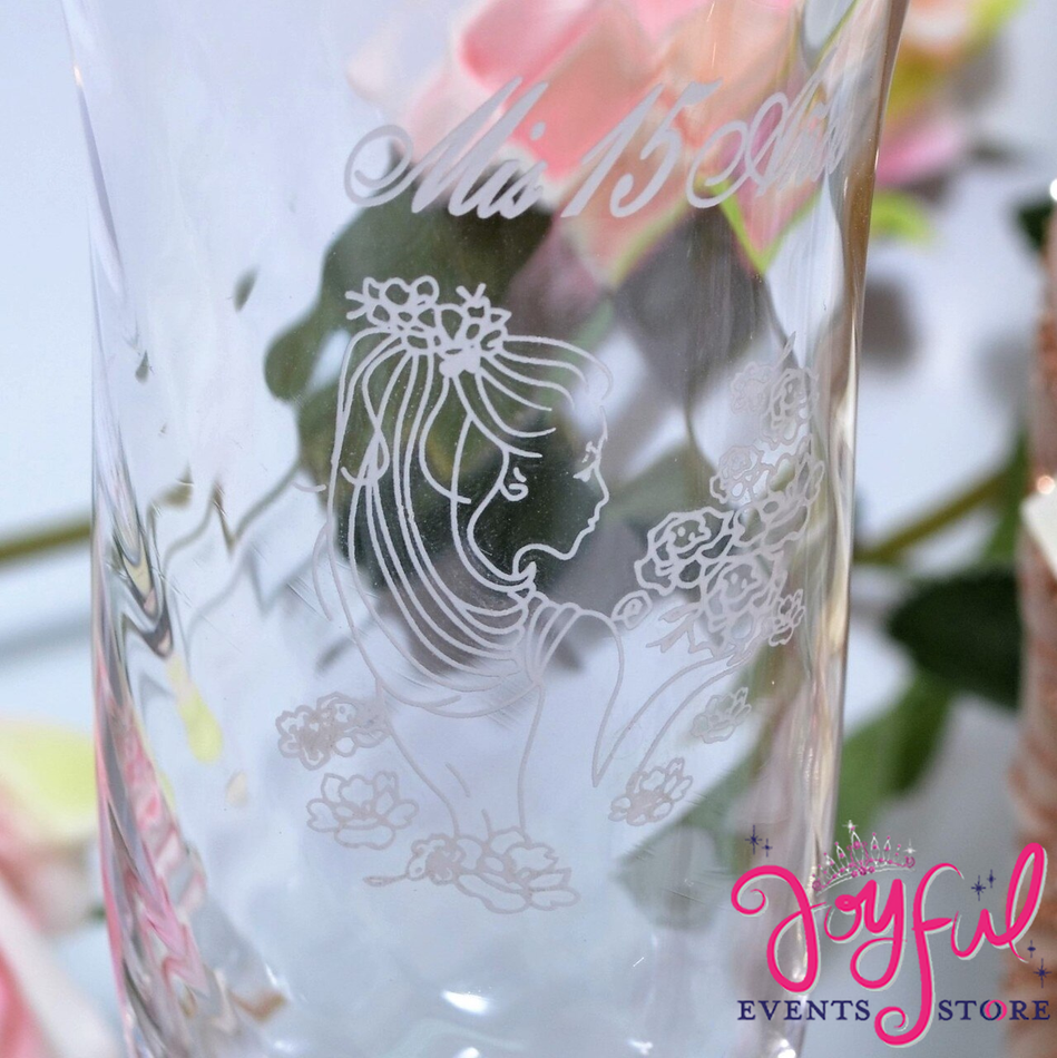 "8"" Decorated Toasting Glasses with Red Fomi Rose #TG33"