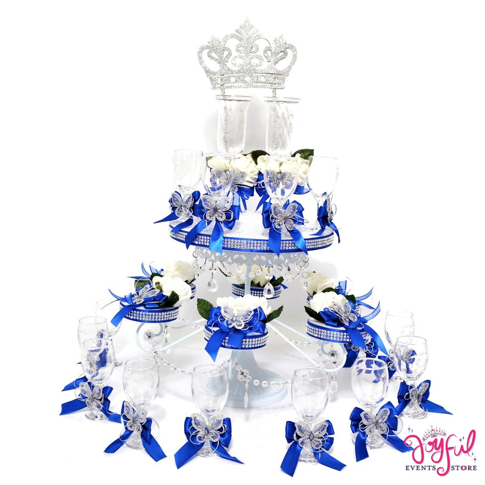 """38"""" Princess Quinceanera Butterfly Toasting Set with Crown Topper TS111"""