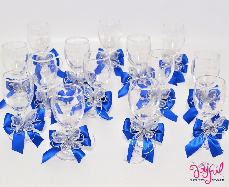 "5"" Decorated Toasting Glasses with Butterflies - 14 Glasses #TG9DEC3"