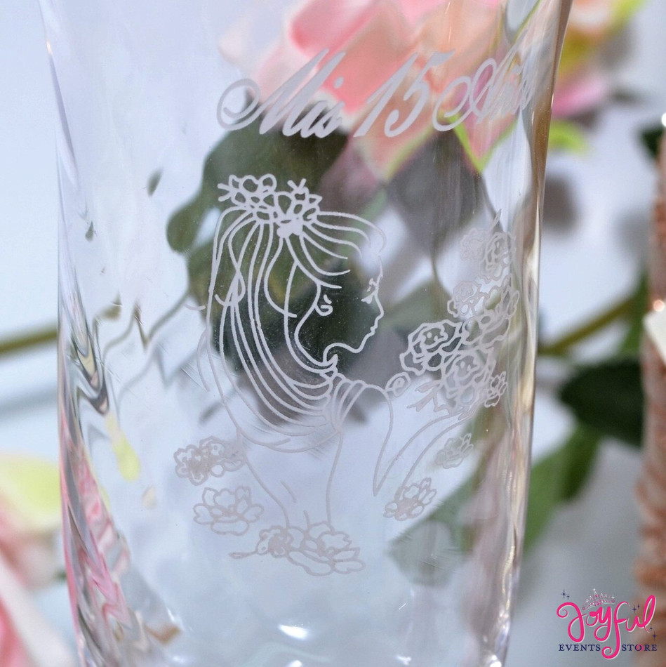 18 Quinceañera Decorated Toasting Glasses - 18 Glasses #TG9DEC4