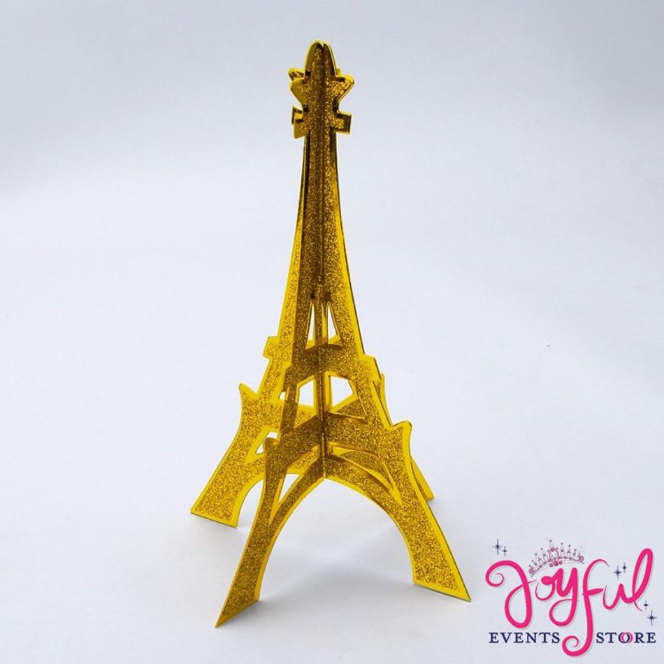 """12"""" Gold Eiffel Tower Glitter Stand 3d #PLET3GD"""