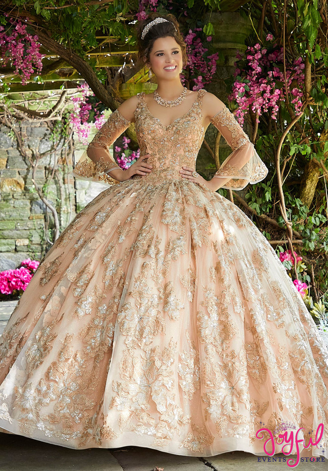 Crystal Beaded Lace and Tulle Quinceañera Dress #89261
