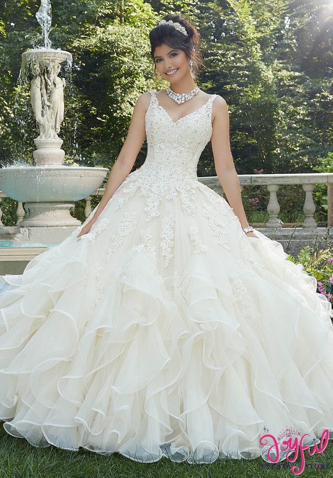 Beaded Lace Tulle and Organza Quinceañera Dress #89262
