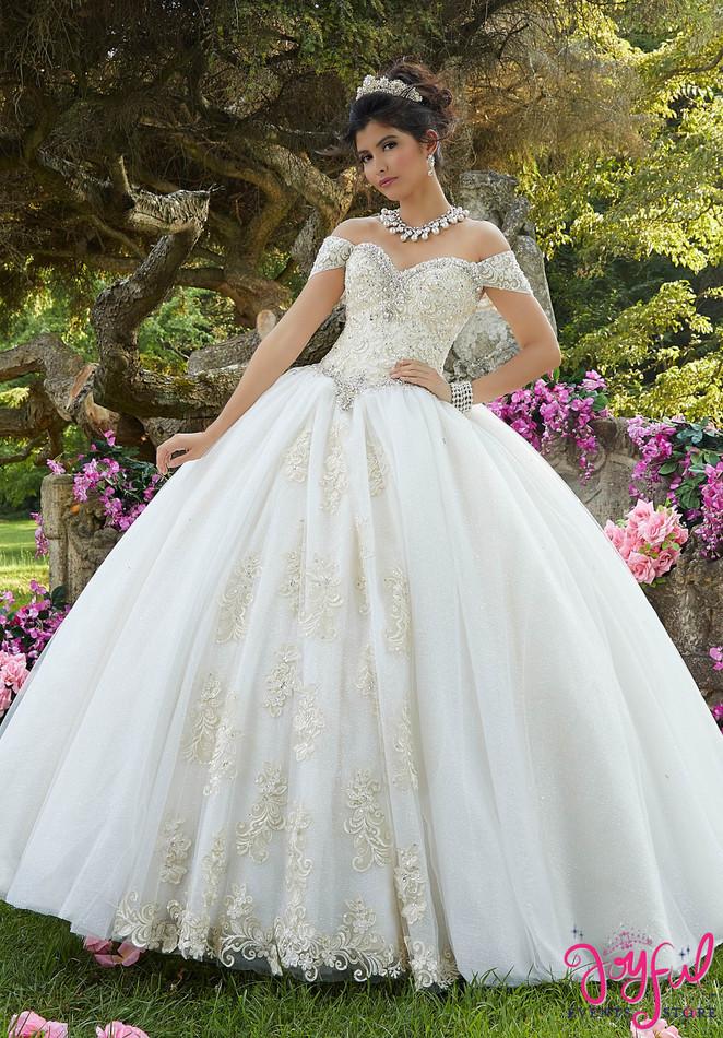 Embroidered Glitter Organza Quinceañera Dress #89263