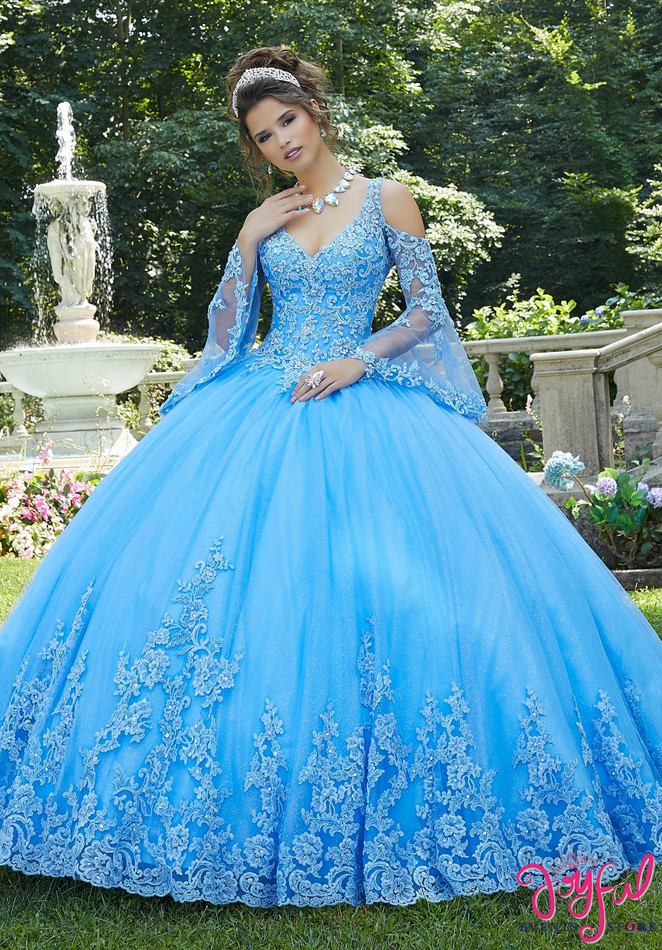 Lace Appliquéd and Sparkle Tulle Quinceañera Dress #89270