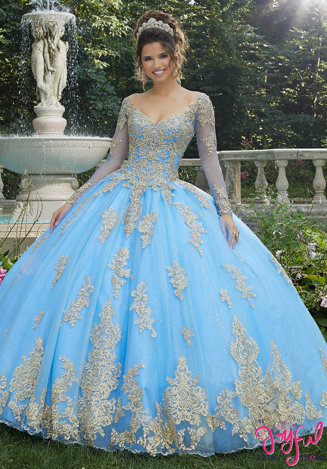 Metallic Lace and Glitter Tulle Quinceañera Dress #89272